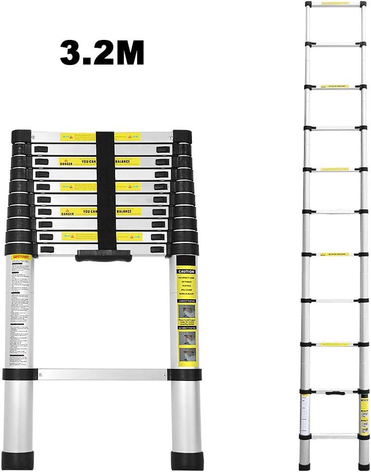 Teleskop Aluminiumleiter Tragbar Ausziehleiter Ausziehbar Multifunktionsleiter VINGO 3.2M Teleskopleiter Aluminium Leiter Maximale Tragkraft von 150kg