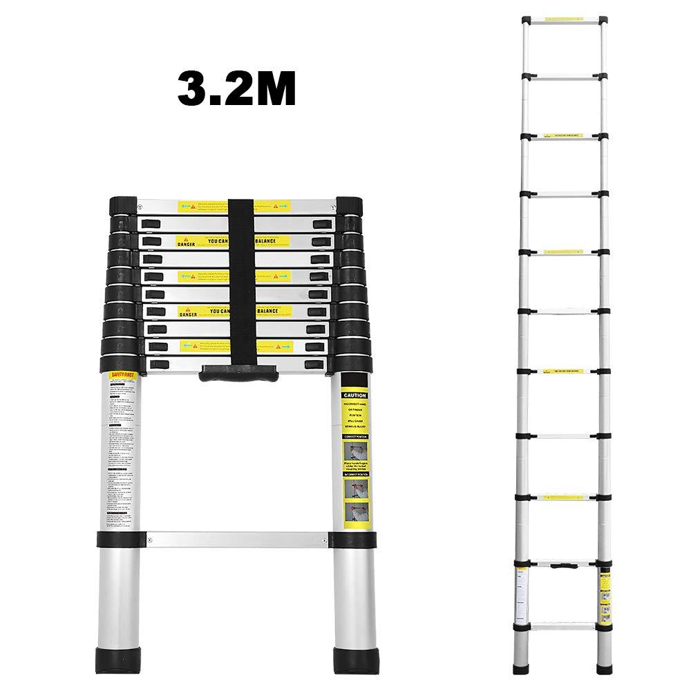3.2M Teleskopleiter Alu Klappleiter Multifunktionsleiter Leicht zu tragen max Belastbarkeit 150 kg WIS