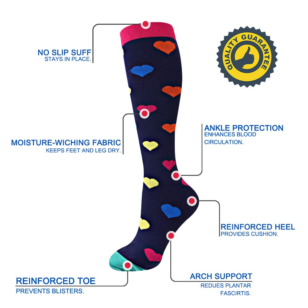 EHbee 3 Pairs Compression Socks for Women & Men 15-20 mmHg, Perfect Compression Stockings for Nurse,Running, Maternity Pregrancy, Flight, Travel, Medical,Sport. (Assorted1, L/XL) by EHbee (Image #4)