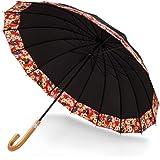 長傘 UVカット 晴雨兼用 日傘 雨傘 梅雨対策 16本骨傘 メンズ 和柄傘 すそ 花 浮き桜 プレゼント 男女兼用 手開き ブラック