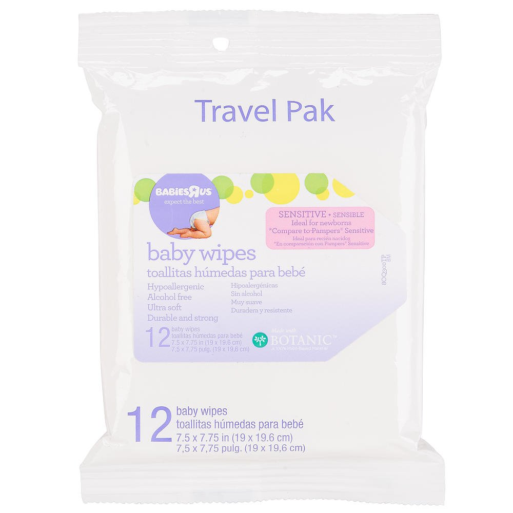 Amazon.com : Babies R Us - Sensitive Unscented Baby Wipes Travel Pak 12 Count : Baby