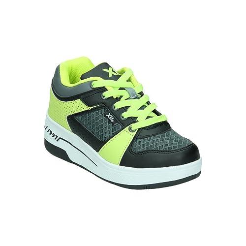 XTI 53436 - Zapatillas con Ruedas Unisex, Color Negro/Verde, Talla 31: Amazon.es: Zapatos y complementos