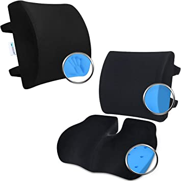 Wishcush Lumbar Support Pillow Ergonomic Back Support Pillow for  Back Pain Relief Memory Foam Back Cushion for Car Office Computer Chair
