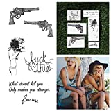 Tattify Guns And Quote Temporary Tattoos - Battle Cry (Set of 12) Long Lasting, Waterproof, Fashionable Fake Tattoos