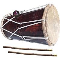 Naksh Toys - Wooden Dholak for Kids; Handmade Indian Dhol with Stick; Musical Instrument Drum; Original Dholak (Medium Size)