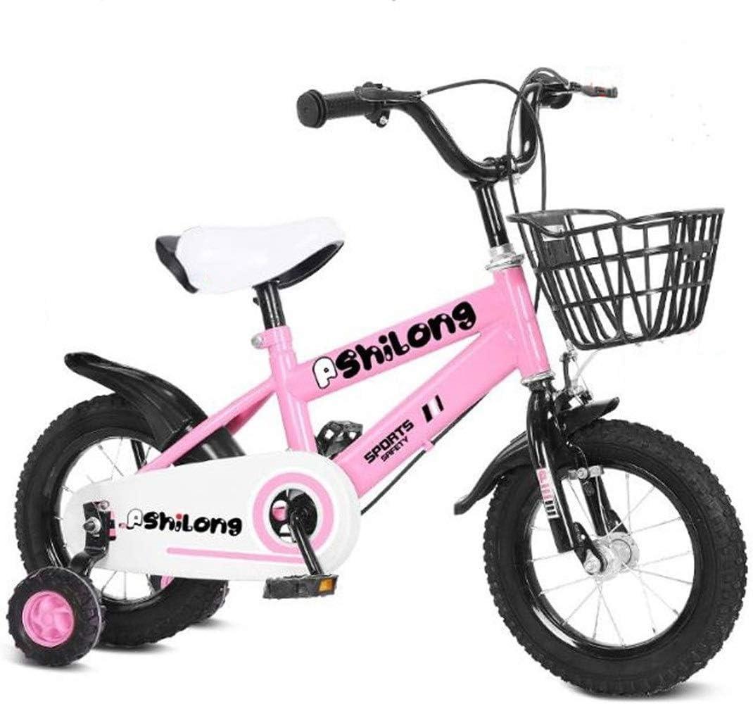 """Dsrgwe Bicicleta niño, Bicicleta Niños, niño Vespa Bicicletas, Adjudtable niños Bicicleta con la Rueda de formación en tamaño 12"""" 14"""" 16"""" 18"""" for el 2-8 Años de Edad (Color : Pink, Size :"""