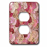 3dRose Uta Naumann Faux Glitter Pattern - Luxury Pink Faux Metal Foil Glitter Autumnal Foliage Leaf Pattern - Light Switch Covers - 2 plug outlet cover (lsp_269089_6)