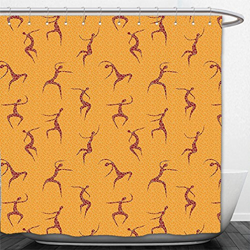 Interestlee Shower Curtain African Decorations Collection Physical Anatomic Dancing African Man Figures above Fragmentary Tiles Boho Artwork Orange Red