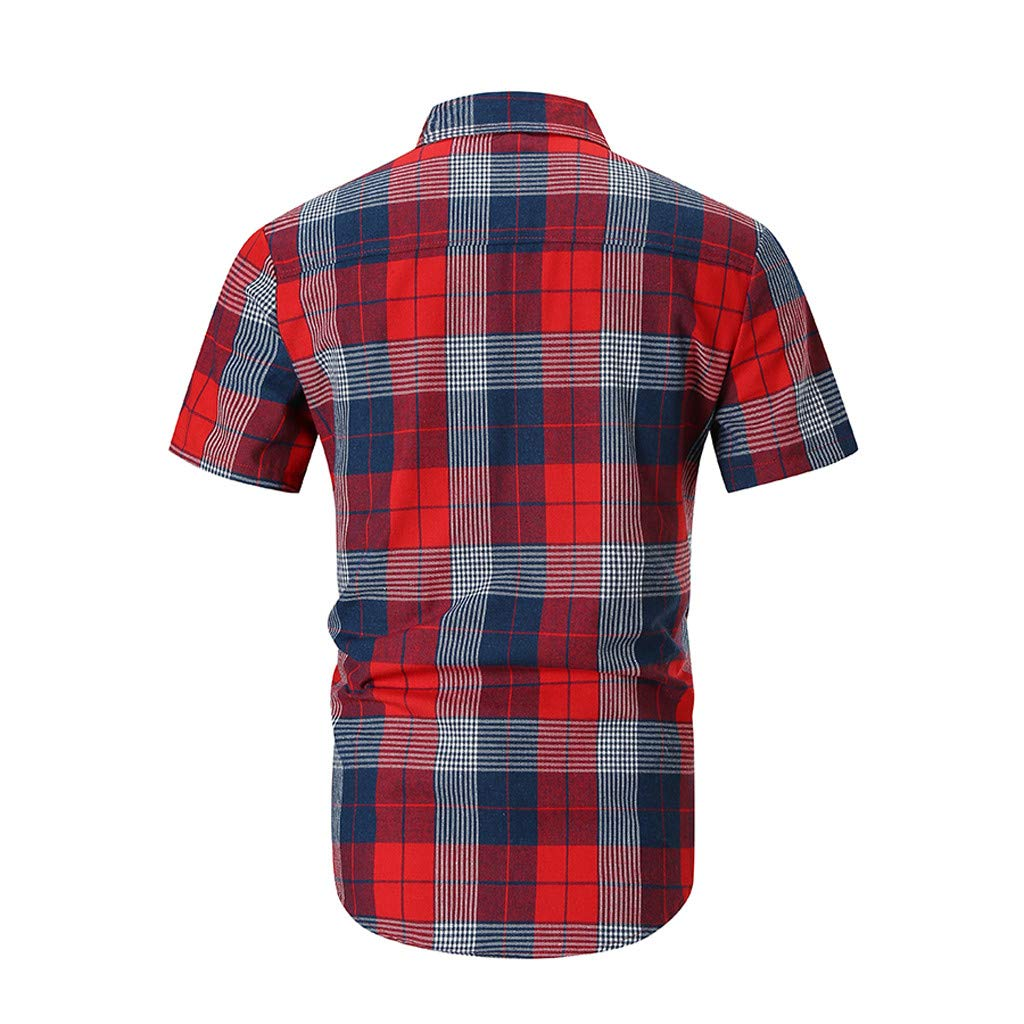 BBesty Mens Summer Casual Striped Gradient Plaid Stitching Lapel Short-Sleeved Shirt Save 15/%