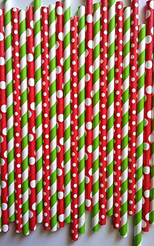 100 premium Christmas style drinking paper straws, can be use for cake pop stick by ETL Products