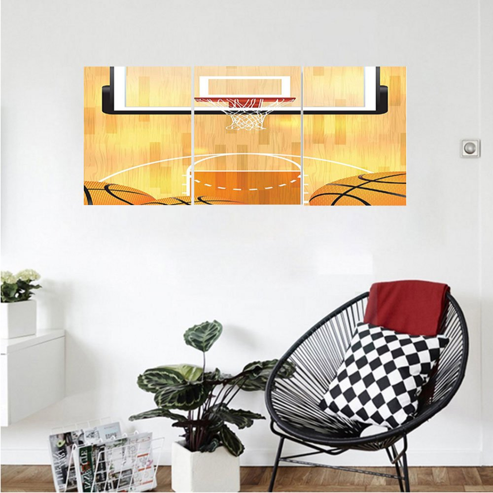 Liguo88 Custom canvas Sports Decor Collection Basketball Court Balls And Hoop Madness Rim Court Parquet Hardwood Bedroom Living Room Wall Hanging