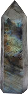rockcloud Labradorite Healing Crystal Point Faceted Prism Wand Carved Reiki Stone Figurine