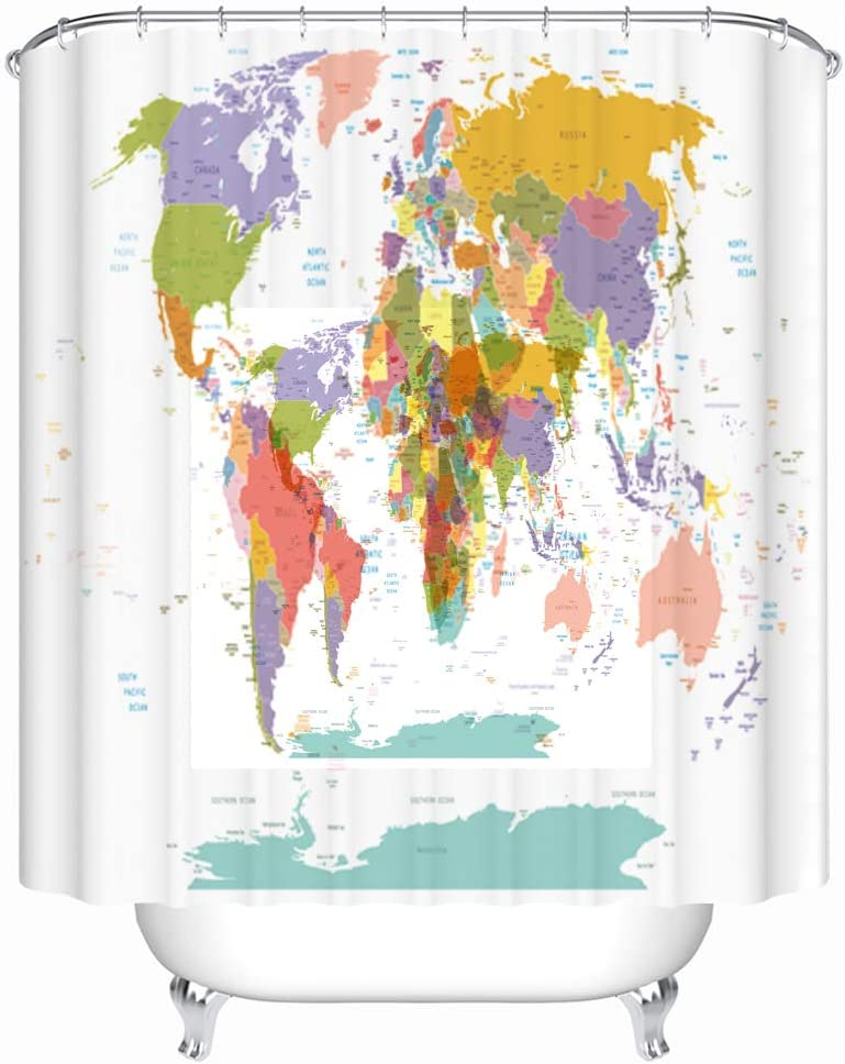 shower curtain map of the world Amazon Com Maxwelly World Map Shower Curtain Map With City Names