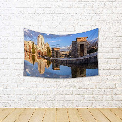 ArtzFolio Temple Of Debod, Madrid, Spain Satin Tapestry Wall Hanging 52.6 x (4 Panel Natural Finish Framed)