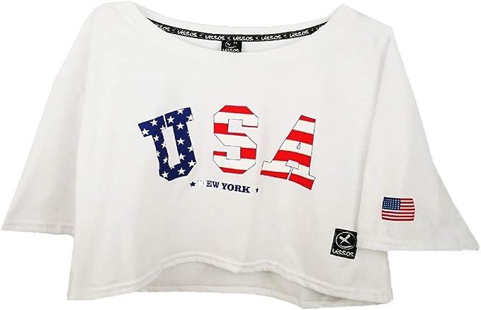 UISSOS Camiseta Chica Manga Corta Estampado USA Moda ...