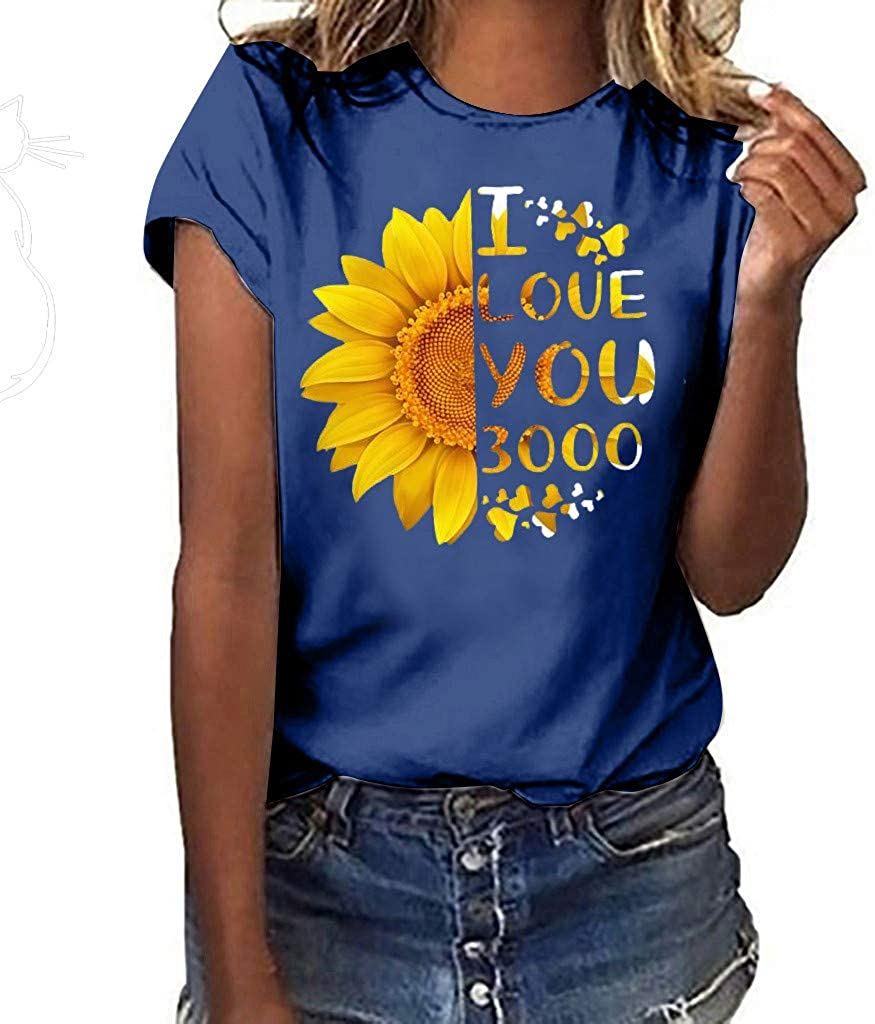 Severkill Sunflower Short Sleeve Graphic Tops for Women I Love You 3000 Letter Print Tees Teen Girls Beach Vest T Shirt