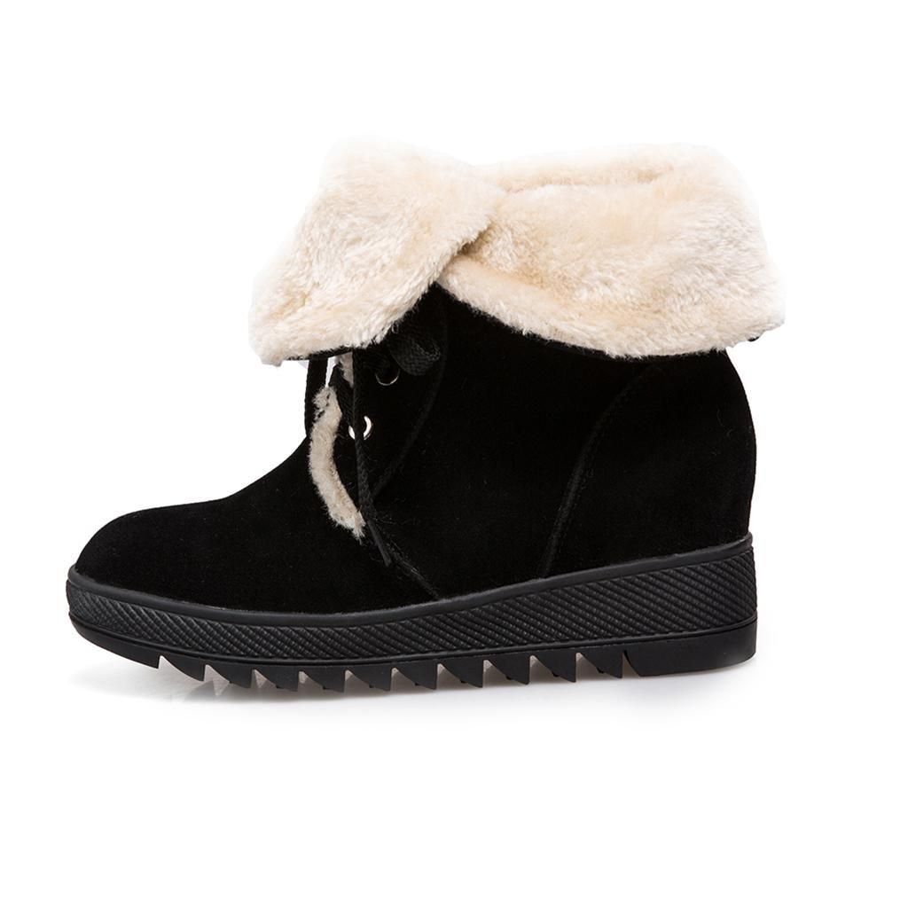 LEI W&L Warm-Schneeschuhe für Mädchen Weiblich Herbst und Warm Baumwollstiefel Weiblich Mädchen Schneeschuhe Stiefel Plus Kaschmir Warm halten Innerhalb der Zunahme Spitze Große Schuheschwarz 7cd3bc