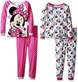 Disney Girls' Toddler Girls' Minnie Mouse 4-Piece Cotton Pajama Set, Pink/White, 2T