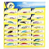 Flexzion Fishing Tackles Lures Lot 24 pcs Plastic Floating Crankbaits Minnow Baits Spinner Assorted Set Each with 1 Sharp Metal Hook Bright Color for River Lake Fish Beginner