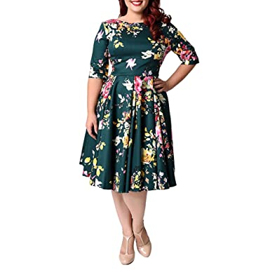 ek Plus Size Floral Print Vintage Style Party Prom Club Backless Evening Dresses (20W,