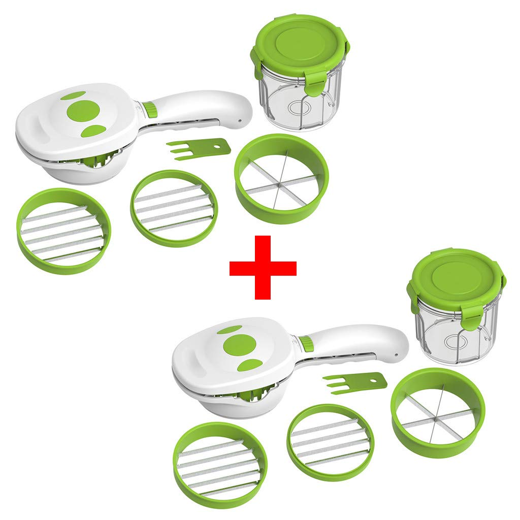 Ecosin Vegetables Cutter, 2 Set Fruits Cutter Chopper Slicer Column Egg Cutter Crusher Perfect for Kitchen Cooking New Year Dinner Party Fruit Vegetable Cutter Kitchen Multifunction Shredder (2 set) by Ecosin _Home