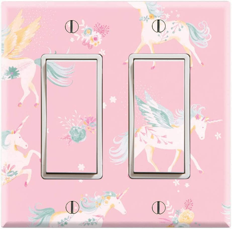 Graphics Wallplates - Unicorn Wallpaper Pink Background - Double Rocker/GFCI Wall Plate Cover