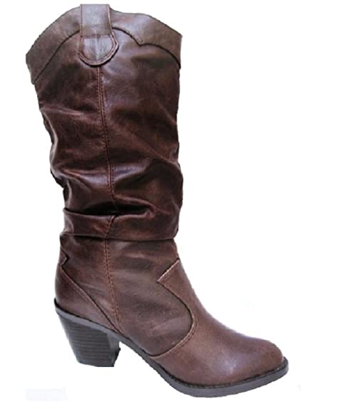lode-H Women's Mid Calf Slouchy Western Cowboy Leatherette Riding Boots