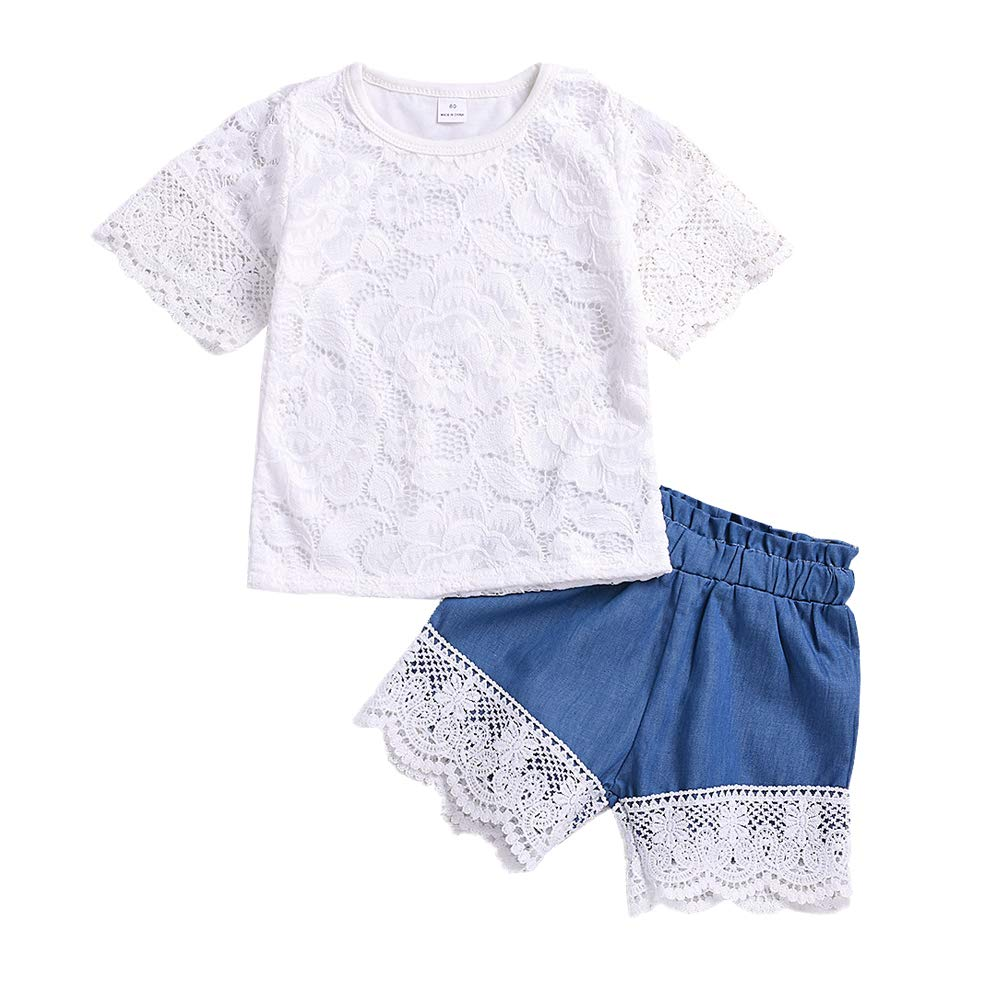 Denim Shorts Outfits Set Little Girl Summer Clothes Scfcloth Baby Toddler Girl Lace Top