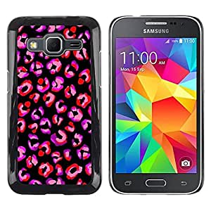 TopCaseStore / la caja del caucho duro de la cubierta de protección de la piel - Purple Black Animal Pattern Fur - Samsung Galaxy Core Prime SM-G360