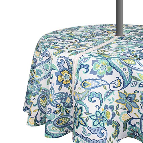 VCVCOO Wrinkle-Free Stain Resistant Outdoor Tablecloth Waterproof,Fabric Spill-Proof Table Cover Floral Pattern Design for Restaurant with Zipper Umbrella Hole (Round 60 Inch Blue)