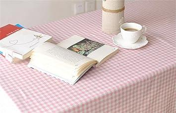 Rosa Gitter Rechteck Baumwolle Leinen Tischdecke Handtuch Couchtisch Home  Küche Wohnzimmer Dekor Zubehör 7 Größen ,