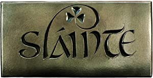 Wild Goose Slainte Sign Irish Plaque Resin Cast Bronze Coated Irish Blessing Good Health Shamrock 7 1/2 Inches Wide by 3 3/4 Inches Tall Ready To Hang Made in Ireland
