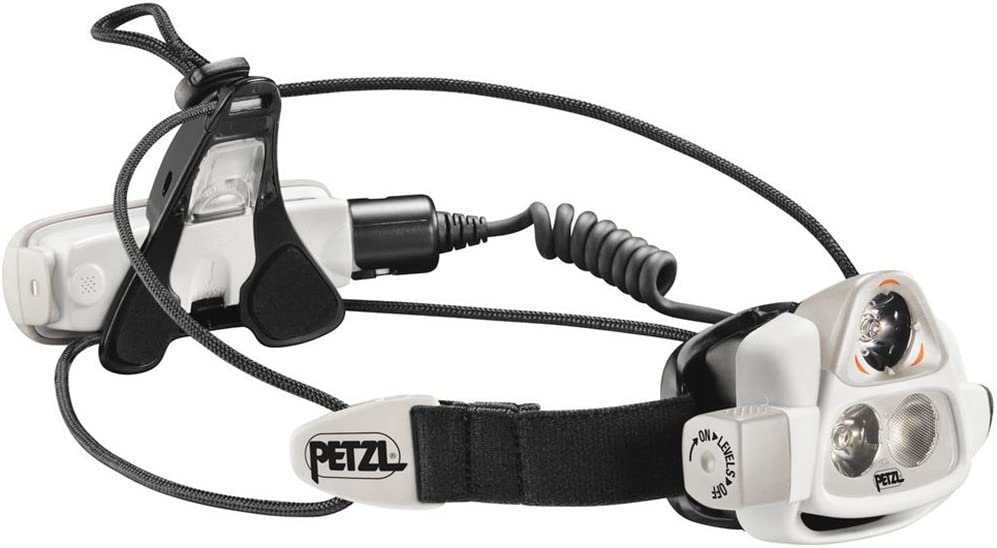 Image of a PETZL headlamp in black and white color.