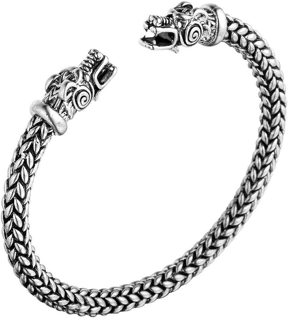 AILUOR - Pulsera de dragón de doble cabeza para hombre, ajustable, acero inoxidable, color dorado y plateado, joyería con brazaletes trenzados pulidos