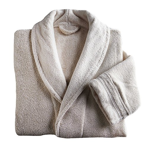 Frette at Home Size Small/Medium Unisex Milano Terry Bathrobe in Ivory by HometoDeals