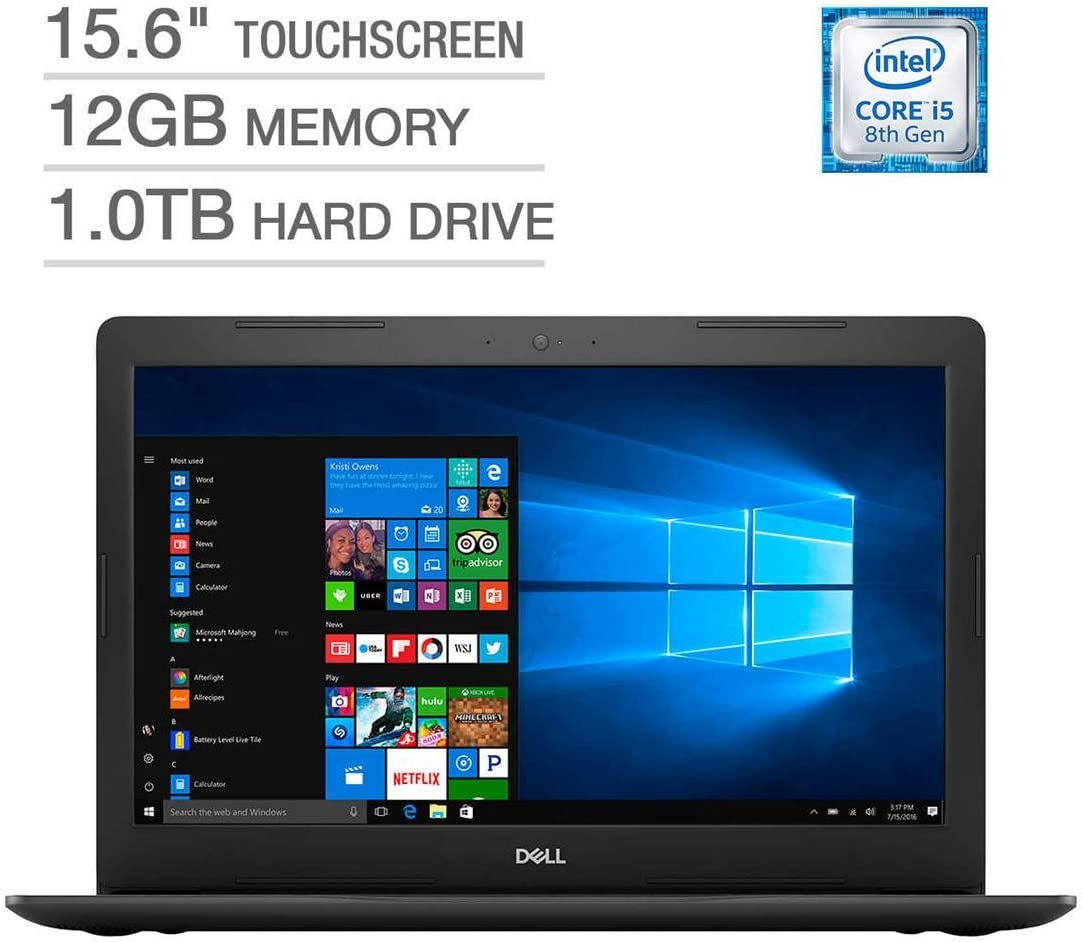 "2018 Dell Inspiron 15 5000 Flagship Premium 15.6"" Full HD Touchscreen Backlit Keyboard Laptop, Intel Core i5-8250U Quad-Core, 12GB DDR4, 1TB HDD, DVD-RW, Bluetooth 4.2, Windows 10, Black"