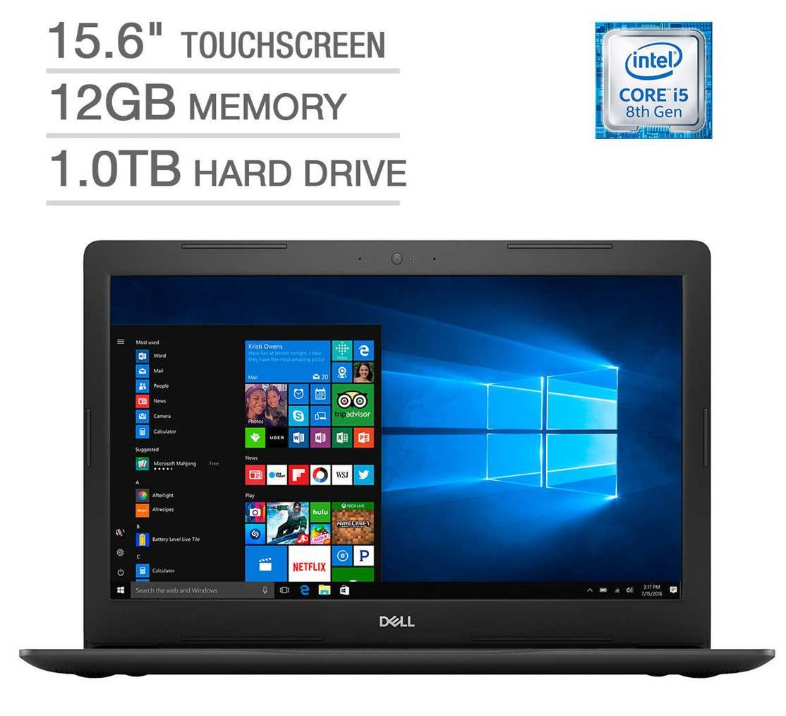 2018 Dell Inspiron 15 5000 Flagship Premium 15.6'' Full HD Touchscreen Backlit Keyboard Laptop, Intel Core i5-8250U Quad-Core, 12GB DDR4, 1TB HDD, DVD-RW, Bluetooth 4.2, Windows 10, Black by Dell