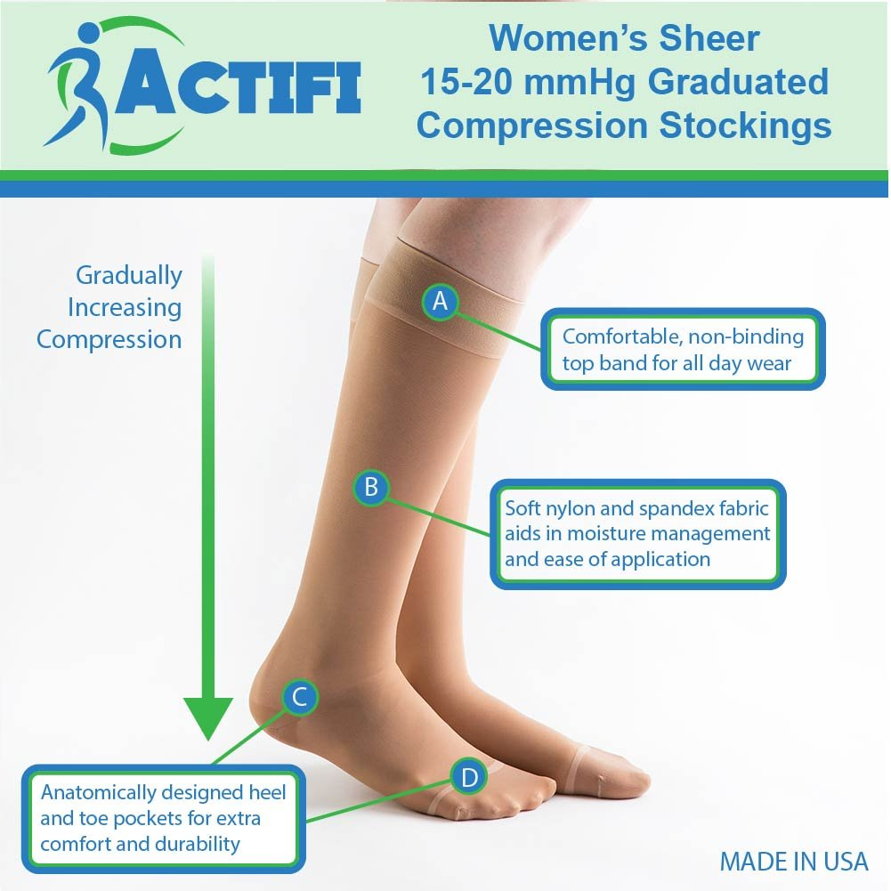 Actifi Women's Sheer 15-20 mmHg Closed Toe Knee High Compression Stockings by Actifi (Image #2)