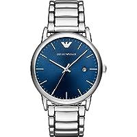 Emporio Armani Luigi Men's Blue Dial Stainless Steel Band Watch - Ar11089, Silver Band, Analog Display