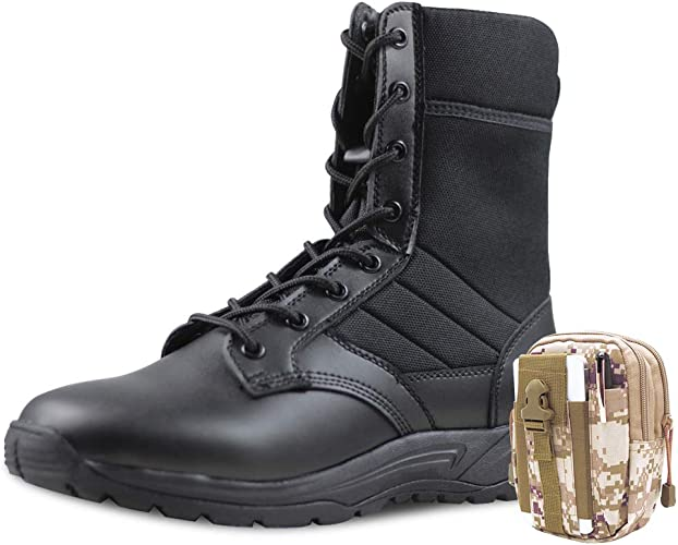 semelle en cuir Handmade Hommes Noir Bottines Hommes Noir Style Militaire Bottines