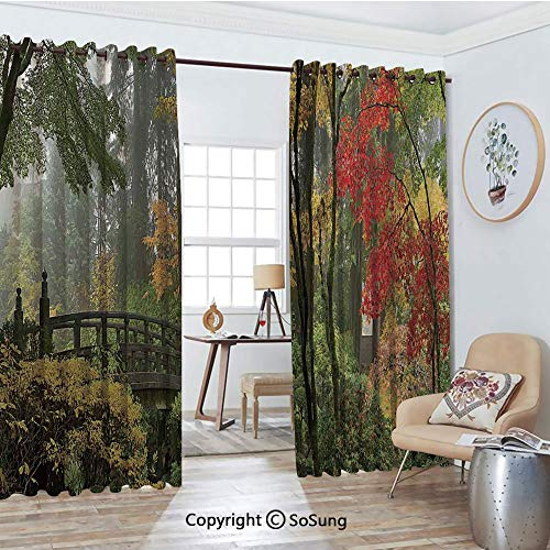 Thermal Insulated Blackout Patio Door Drapery,Wet Wooden Bridge at Portland Japanese Garden Oregon in Autumn with Various Trees Room Divider Curtains,2 Panel Set,100