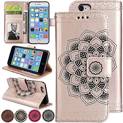 iPhone 6s Folio Wallet Case, iPhone 6 Magnetic Leather Cover, [Stand] 3D Relief Flower Flip Protective Cover with Money Purse and Credit Card Holder for iPhone6 / iPhone6s (Rosegold) (Iphone6 Money Case)