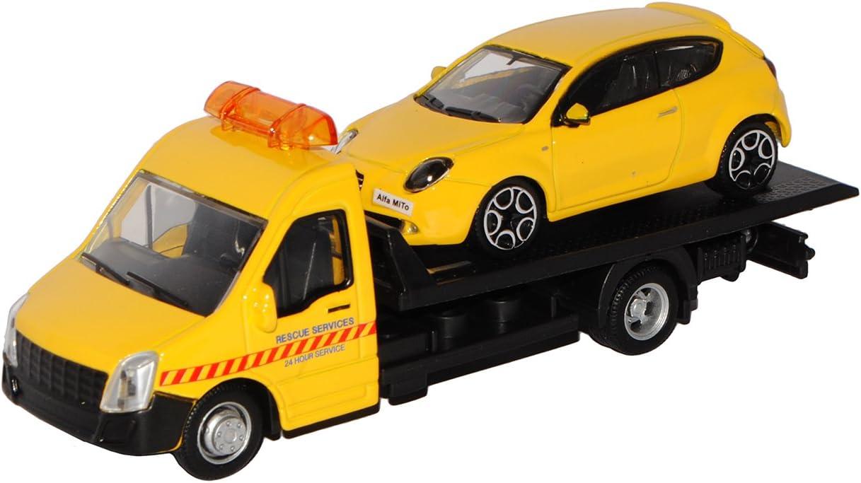Bburago Autotransporter mit Alfa Romeo Mito Gelb Metallic 3 T/ürer Ab 2008 1//43 Modell Auto mit individiuellem Wunschkennzeichen