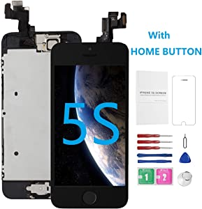 for iPhone 5S Screen Replacement with Home Button Black, Mobkitfp Full Assembly Digitizer for Model A1533, A1457, A1453, A1530, LCD Touch Display with Camera for iPhone 5S Repair Kit