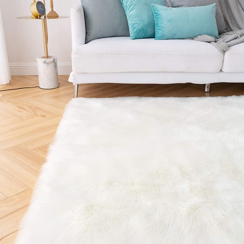 zyhappy Super Soft Faux Fur Sheepskin Rug Shaggy Rug Round Area Rugs Floor Mat Home Decorator Carpets Kids Play Rug