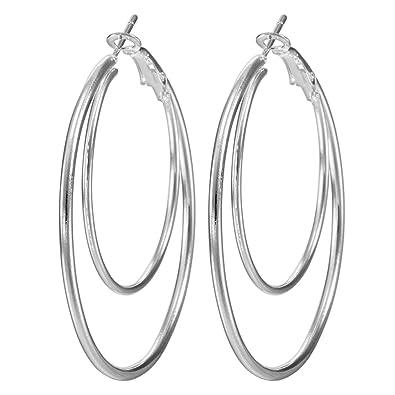 6a8590b09 Bigood Large Thin Big Circle Sterling Silver Hoop Earrings White:  Amazon.co.uk: Jewellery