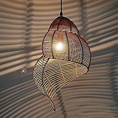 YanCui@ Pastoral Rattan Snail Dining Room Ceiling Pendant Lights Creative fashion Garden Study Room Pendant Light Bar Cafe Shops Pendant Light , trumpet , a