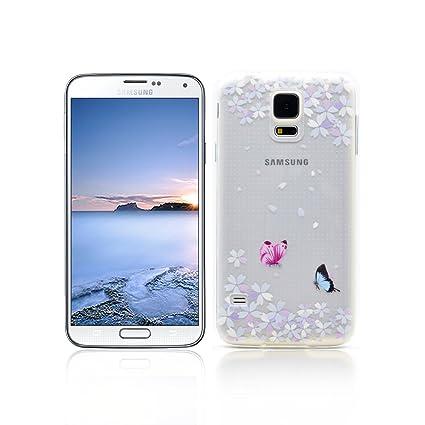 Funda Samsung Galaxy S5 Carcasa Protectora OuDu Funda para Samsung Galaxy S5 Caso Silicona TPU Funda Suave Soft Silicone Case - Flor de Baile