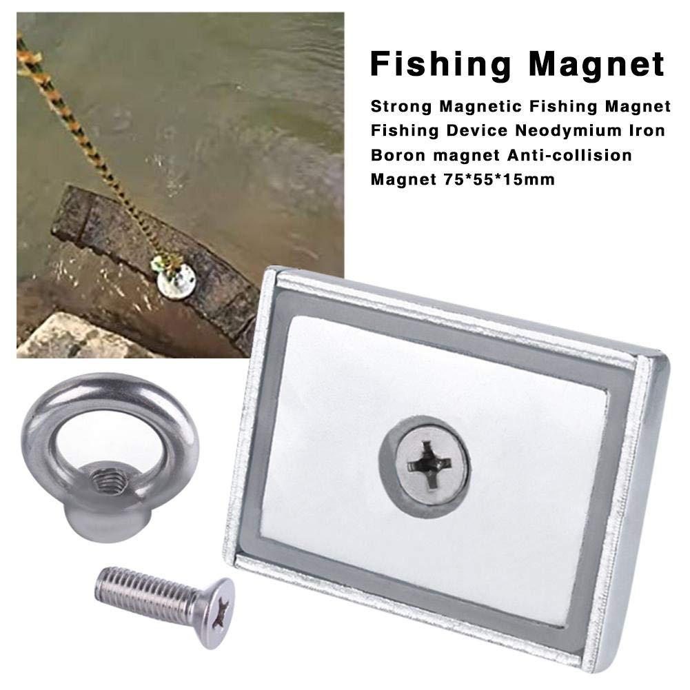 aheadad Rechteckiger super starker Neodym-Magnet starker Fischen-Magnet mit Augenschraube f/ür Magnet-Fischen und Wiedergewinnung in der Fluss-ziehenden Kraft 100KG
