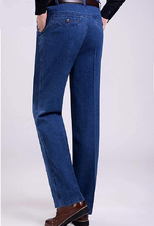 Sebaby Men Big and Tall Fall Winter Denim Pants High Waist Straight Jean